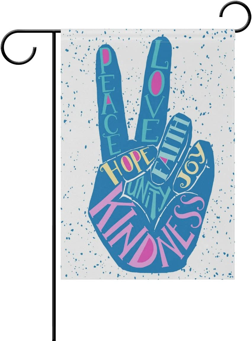 ALAZA Creative Peace Love Joy Hand Polyester Garden Flag House Banner 28 x 40 inch, Two Sided Welcome Yard Decoration Flag for Wedding Party Home Decor