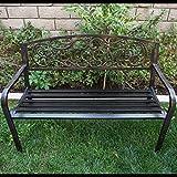 Belleze 50″ Blossoming Garden Decorative Patio Park Bench, Bronze Review