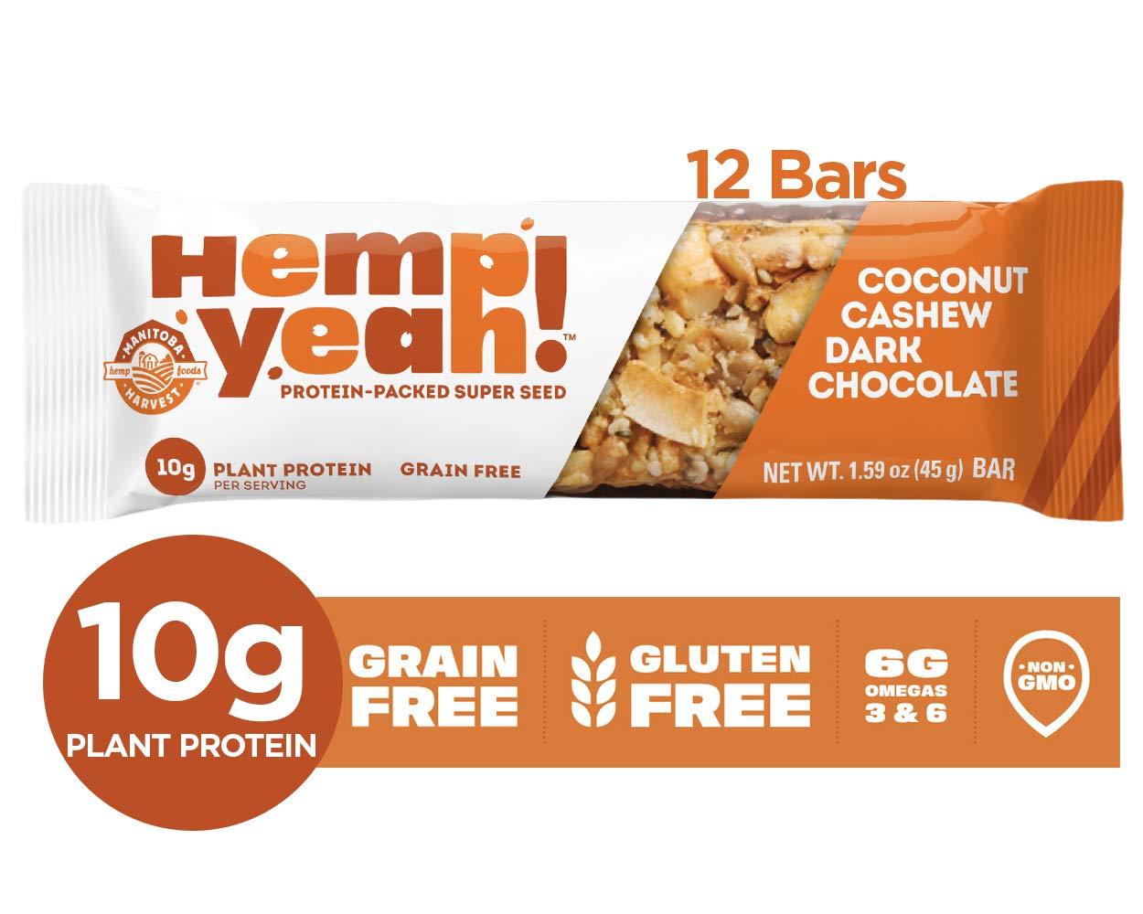 Manitoba Harvest Hemp Yeah! Bars, Coconut Cashew Dark Chocolate (12 Bars), 10g Plant Protein, Grain Free, Gluten Free, 6g Omegas 3&6 by Manitoba Harvest