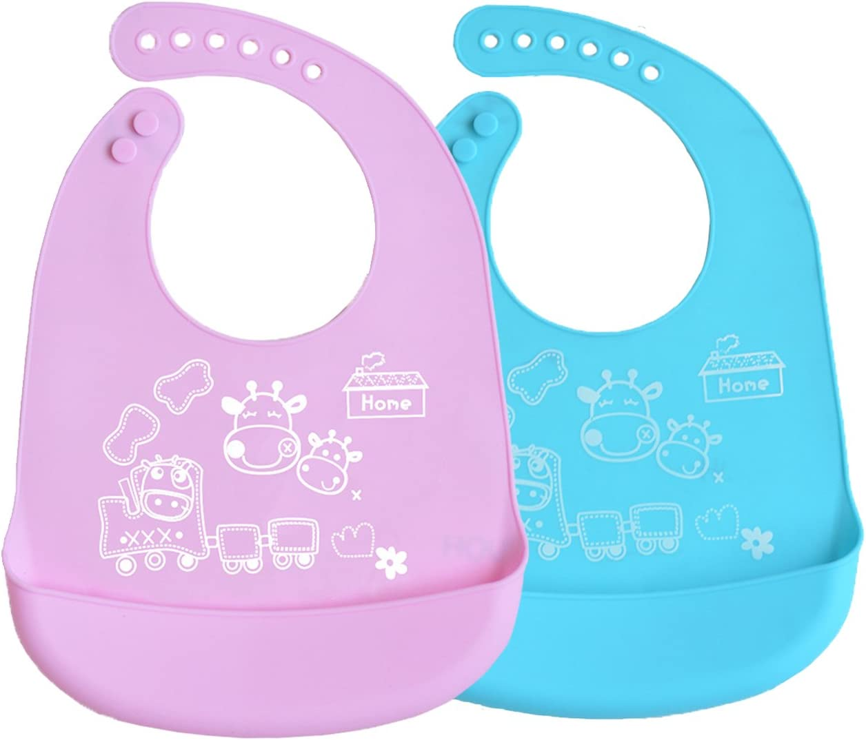Adjustable Waterproof Silicone Toddlers Baby Bibs With Roll Up Pocket Soft