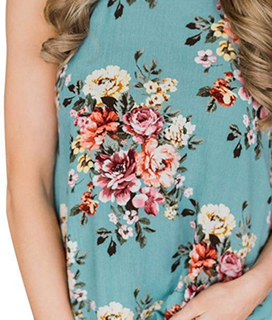 general3 Women Sleeveless Tank Tops Summer Fashion Flower Print Halter Vest Shirt