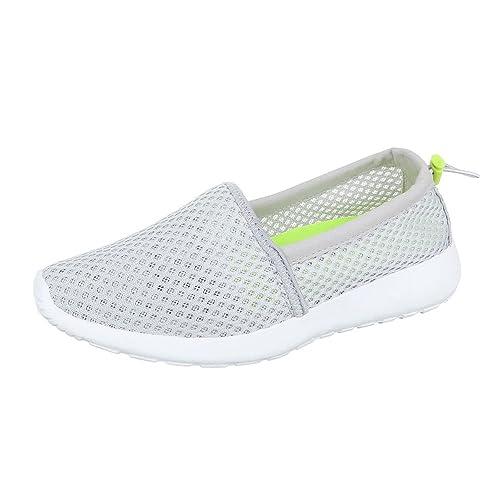 Ital-Design - Mocasines de Material Sintético para mujer, color gris, talla 38: Amazon.es: Zapatos y complementos