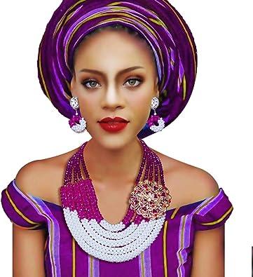 5 filas de cuentas de cristal africano collar nigeriano boda ...