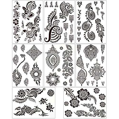 BMC 8 Sheet Set Ornate Floral Brown Color Temporary Body Art Henna Tattoos - Henna Floral Tattoos