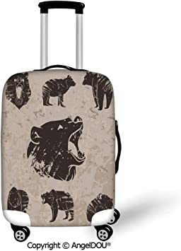 Travel Luggage Cover Suitcase Protector,Cabin Decor,Set of Different Bears in Grunge Design Carnivore Growling Mammals Zoo Decorative,Dark Brown Cocoa,for Travel
