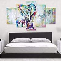 qiumeixia1 5 UNIDS Pintura de la Lona de Arte Moderno Africano Elefantes Sala de Estar Decoración de La Pared Imágenes Hechas A Mano Paisaje Pintura Al Óleo Sin Marco