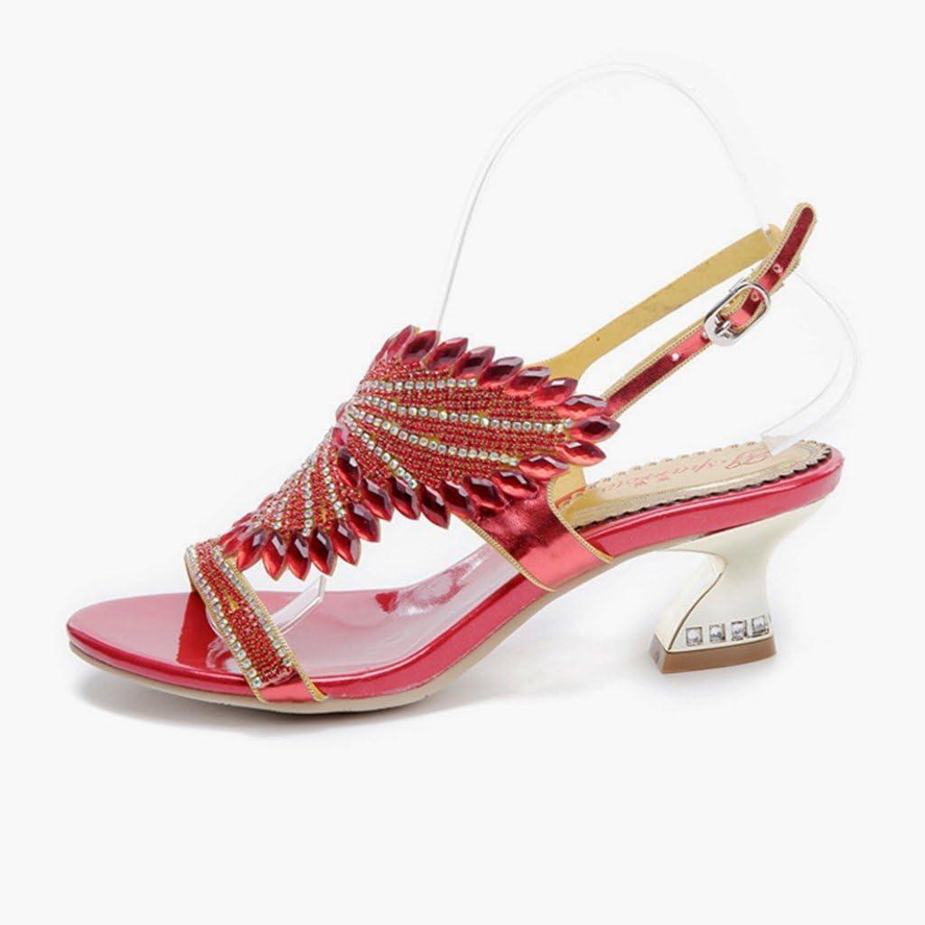 Doris Women\'s Evening Wedding Dress Shoes Glitter Rhinestone Bloemen Heels Zomer Fashion Slippers rood