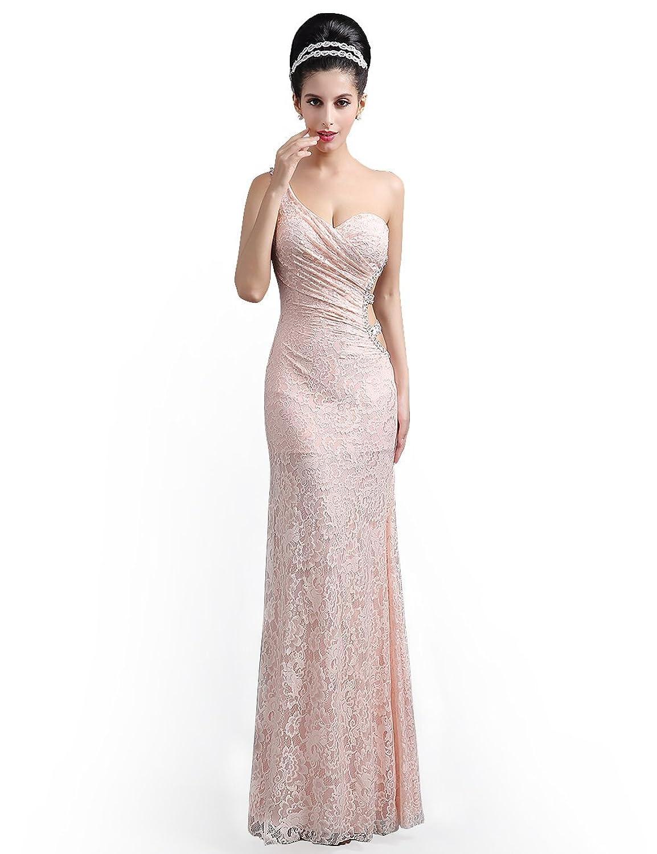 Babyonline® Damen Lang Ein Schulter Meerjungfrau Lace Pushup Brautjunferkleider Abendkleid Ballkleider