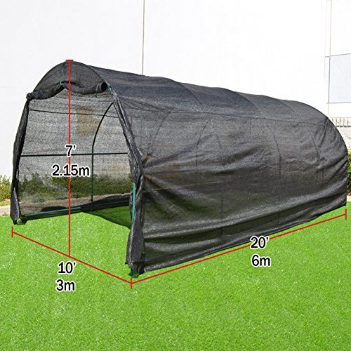 Strong Camel 80% Sunblock Shade Cloth GreenHouse Walk-In BLACK Greenhouse Outdoor Plant Gardening (20'X10'X7′)