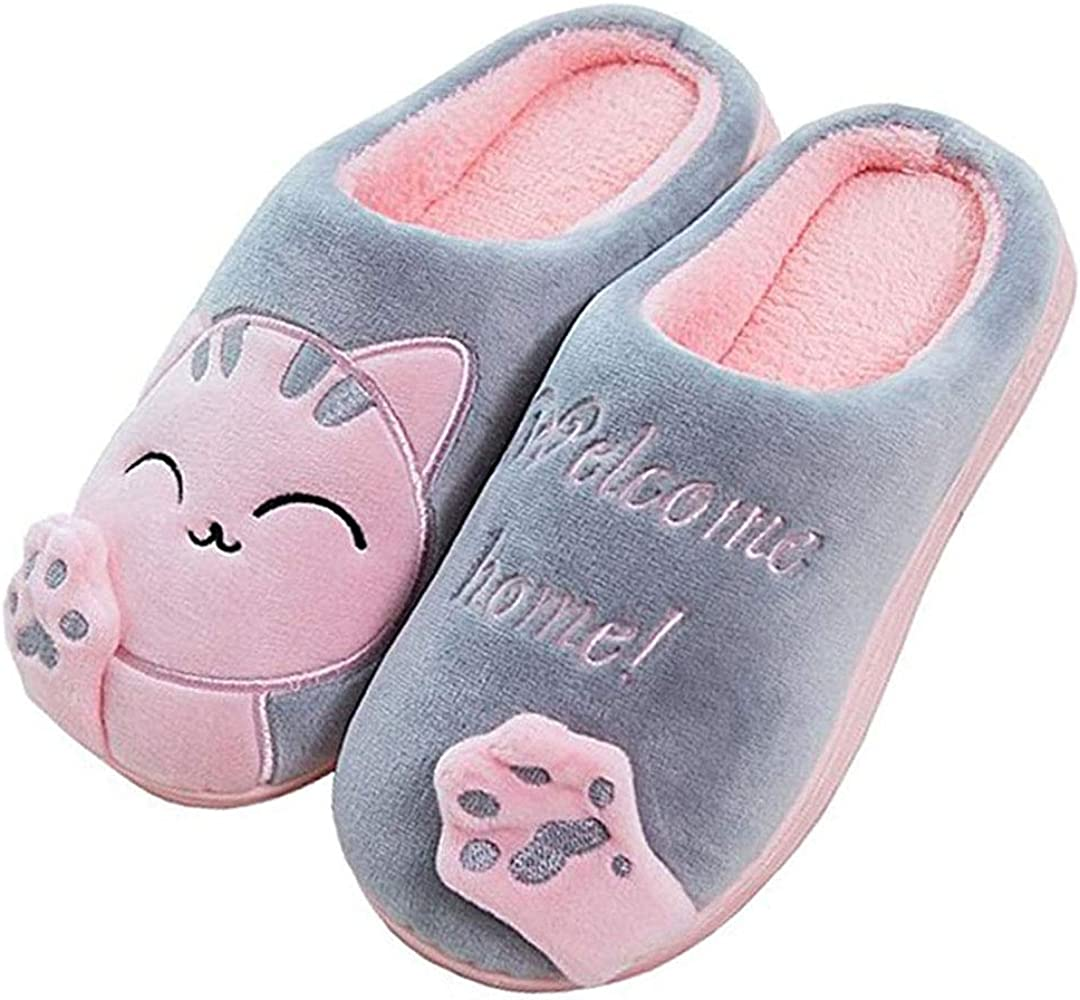 Indoor Cozy Warm Slippers Winter Home Cotton Slippers Female Couple Autumn Winter Indoor Non-Slip Bag with Thick Bottom Warm Plush Drag Color : Blue, Size : 1