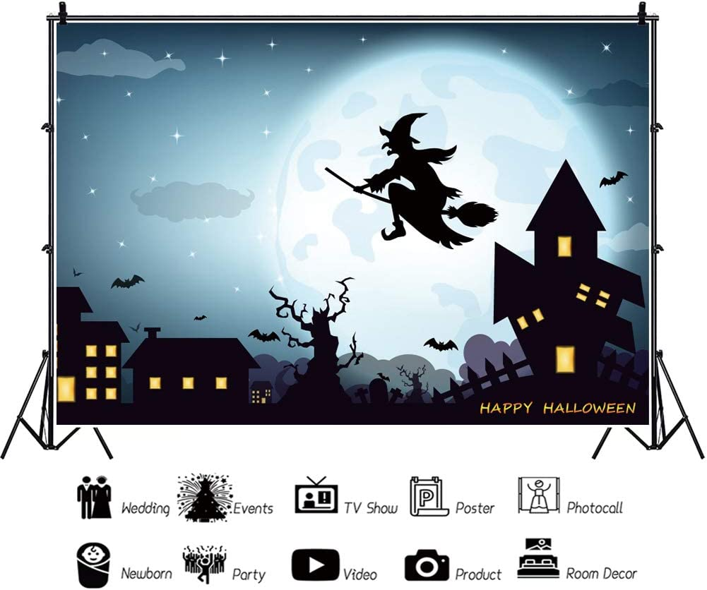 DORCEV 10x8ft Cartoon Witch Home Backdrop for Halloween Party Phtography Background Halloween Night Black Cat Pumple Clock Bat Party Cake Table Banner Kids Adult Halloween Photo Studio Props