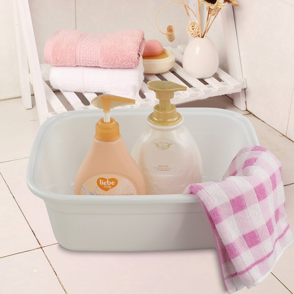 Morcte 10-12 Quart Rectangle Plastic Wash Pan//Dishpan Basin Set of 3