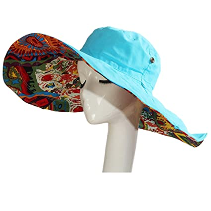 64cff0e1679 ezyoutdoor Women s Reversible Sun Hat Foldable Large Brim Floppy Beach Hat  Sun Hat UPF 50+