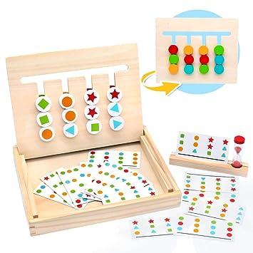 Symiu Juguetes Montessori Tablero Juego de Madera Puzzles Infantiles con Tarjetas de Patrón y Disco de Color Juguete De Rompecabezas Madera para Niños ...