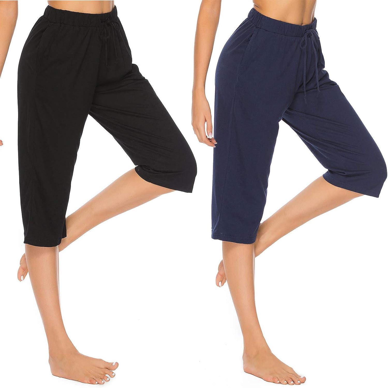 Vlazom 100/% Cotton Womens Pajama Bottoms Capri Lounge Pants Casual Cropped Pjs Trouser with Pockets /& Drawstring
