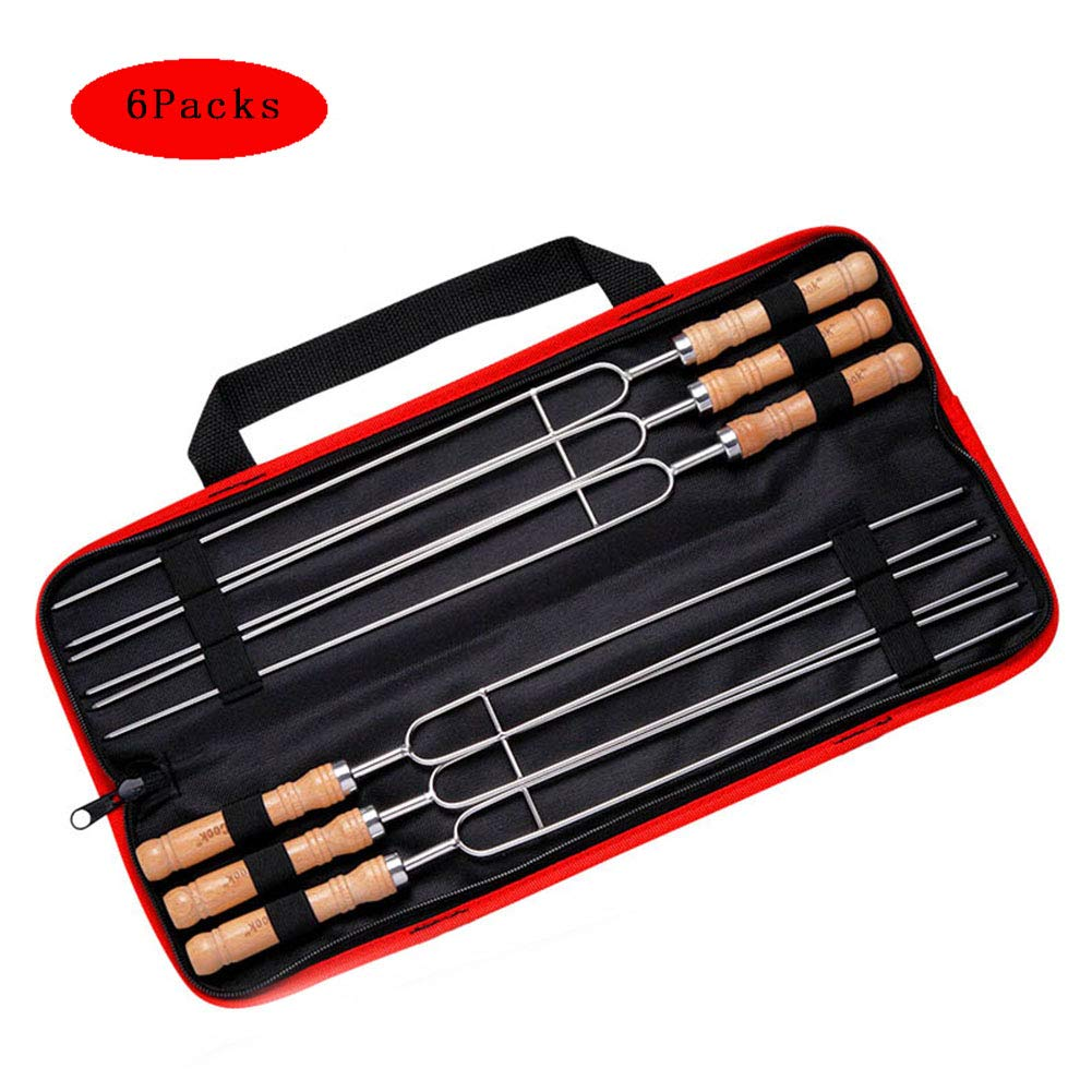304 Stainless Steel Barbecue Forks Wooden Handle Double Fork Design,with Storage Pouch Handy Portable,6Packs