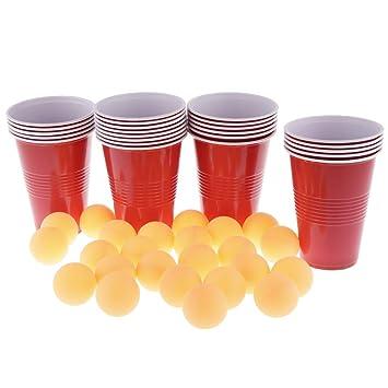 Baoblaze 24 Vasos Rojos Pelotas De Ping Pong Amarillas Para Juego