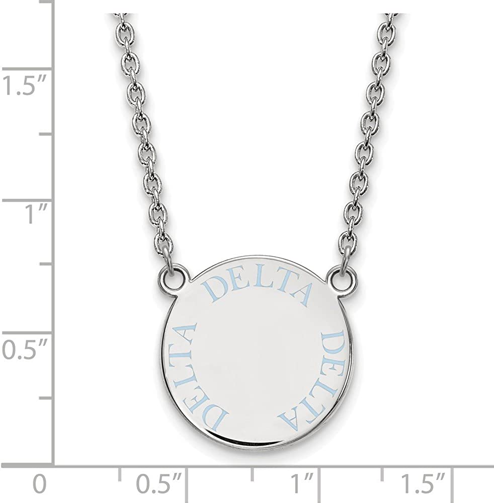 Greek Sororities Sterling Silver LogoArt Delta Delta Delta Large Enl Pend with Necklace Size One Size