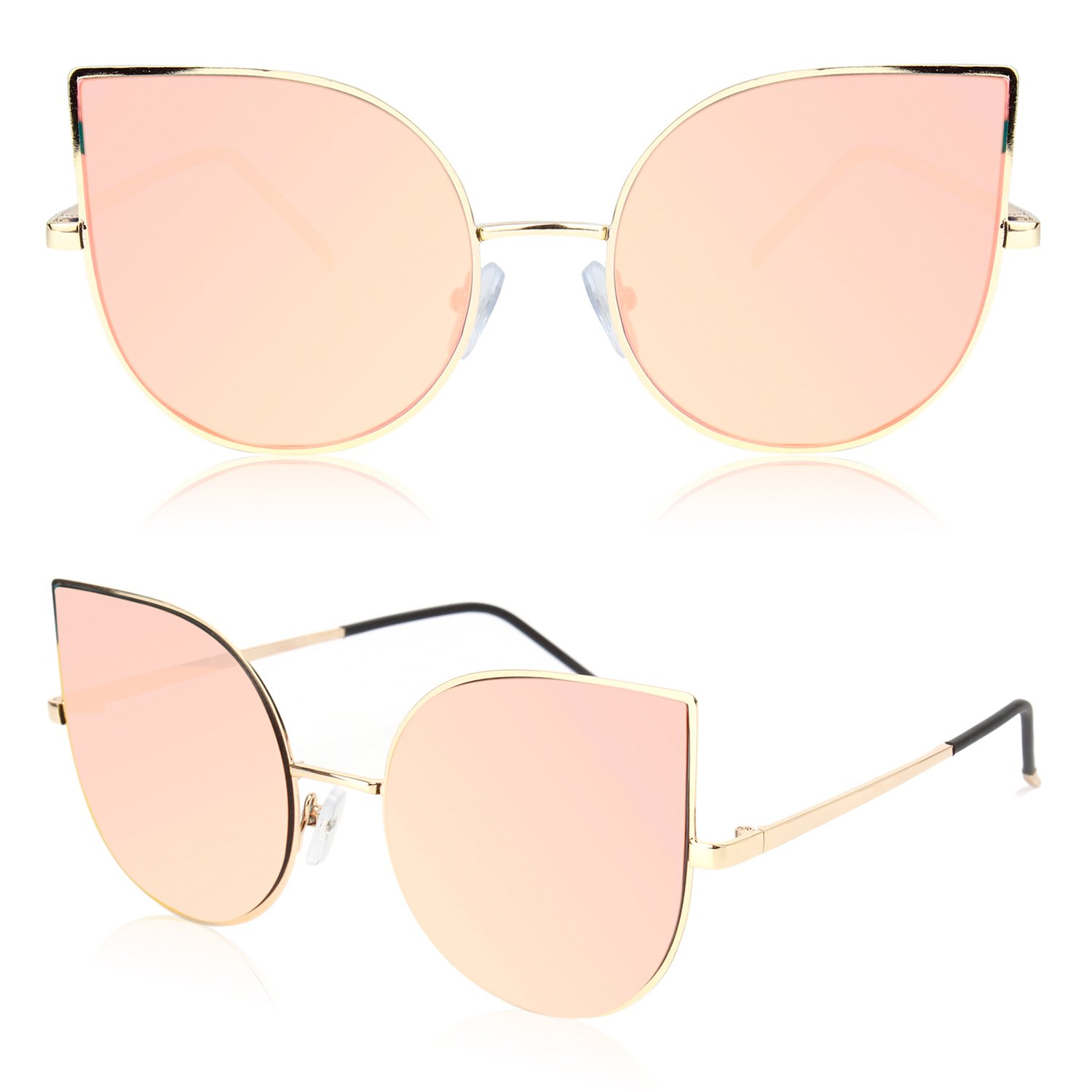 a5d5724dc7c SOJOS Cat Eye Mirrored Flat Lenses Ultra Thin Light Metal Frame Women  Sunglasses SJ1022 with Gold Frame Pink Mirrored Lens