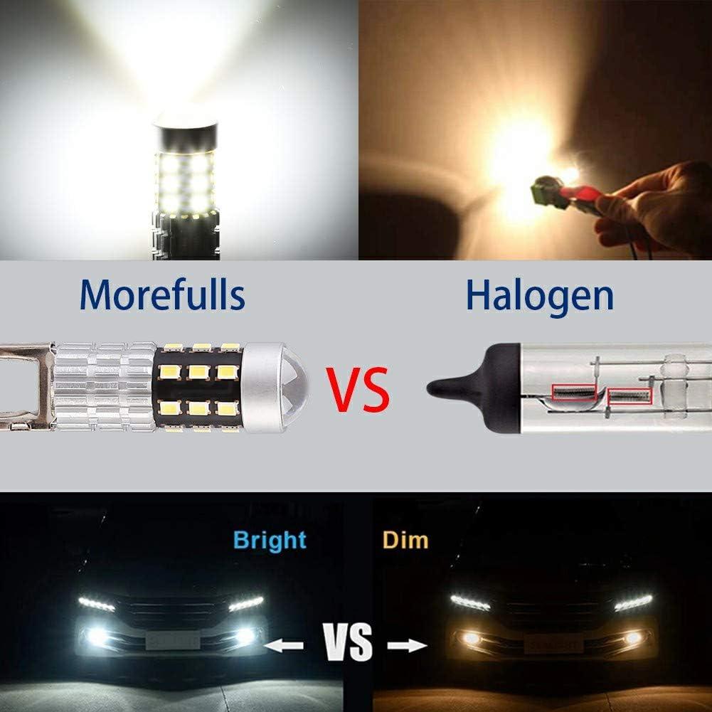 Morefulls H1 LED Fog Lights Bulbs Lamp 6000k White With Projector,12V 1600 Lumens 360/° Beam Angle Extremely Bright DRL LED Bulb Set of 2