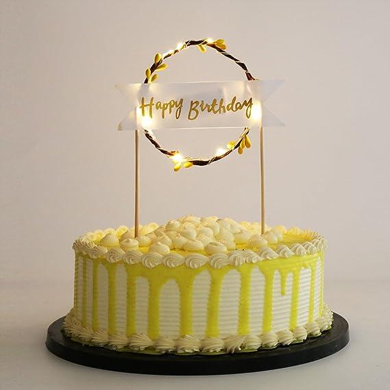 Amazon Palasasa Gold Led Lights Happy Birthday Garland Cake