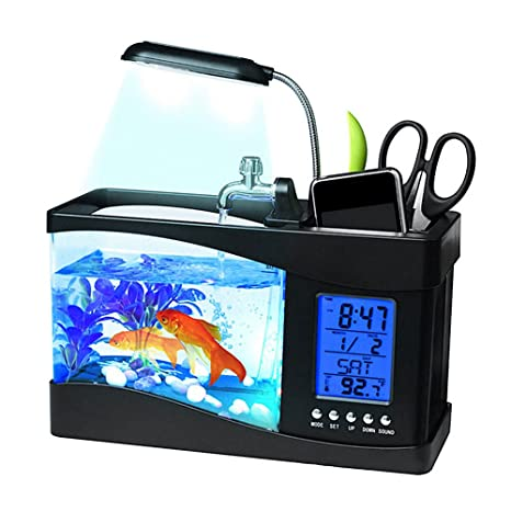 Awhao - Mini lámpara de sobremesa para acuario con USB para tanque de peces, LCD