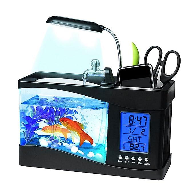 Mini reloj despertador con luz LED para decoración de escritorio, USB, para acuario, LCD: Amazon.es: Productos para mascotas