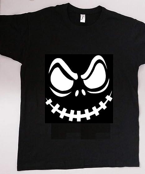 Halloween – Camiseta de diseño Spooky Scary Disfraz regalo Unisex para hombre Mujer Top – negro con blanco vinilo, color mediano, tamaño Scary Face: Amazon.es: Hogar