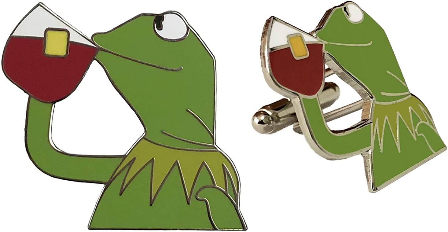 Balanced Co. Kermit None of My Business Cufflinks Kermit Cufflinks Kermit Sipping Tea Cuff Links