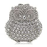 Milisente Women Evening Bag Owl Crystal Diamond Clutch Purse Party Shoulder Bag (Silver)