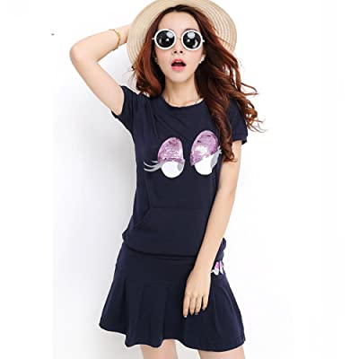VOGUE CODE Spring and Summer Suits Teenager's Casual Wear Two-piece Tennis Athletic Skirt (navy blue)