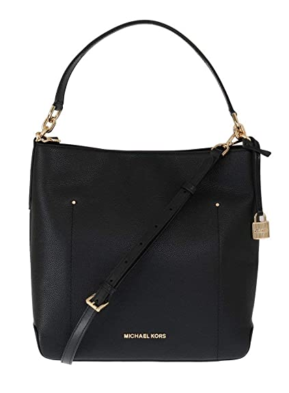 5bdc6fc25fd2 Michael Kors Hayes LG Bucket Shoulder Leather Black (35F8GYEL3L)   Amazon.co.uk  Shoes   Bags