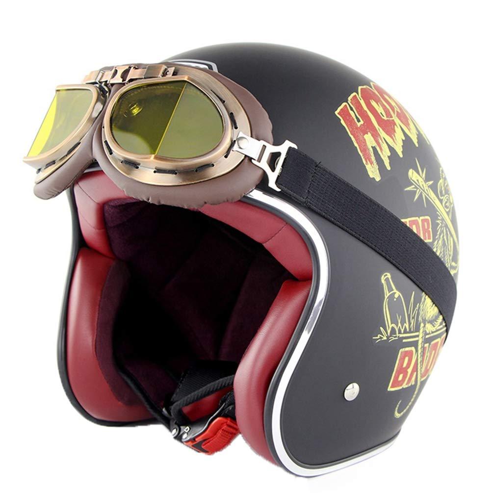Harley Motocicleta Casco Adulto Retro Anti colisi/ón Malla de algod/ón Forro de la Motocicleta Cascos con Gafas Chopper al Aire Libre Cara Abierta Moto Caps Hat para Motocross Racing