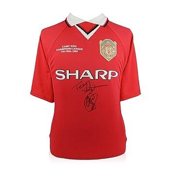 2361864ed Teddy Sheringham   Ole Gunnar Solskjaer Signed 1999 Manchester United  Champions League Shirt