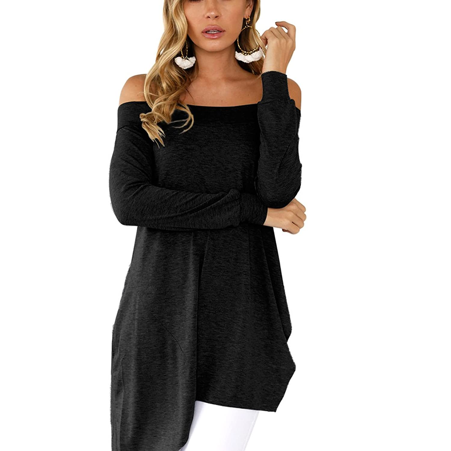 BSTWLKJ Women's Sexy Off Shoulder Irregular Hem Long Sleeve T-Shirts Tops:  Amazon.co.uk: Clothing