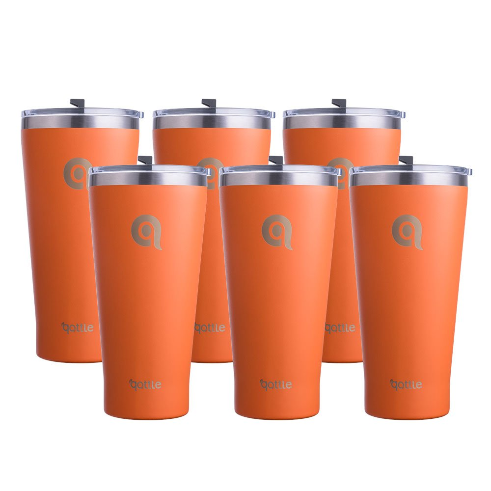 qottle 30oz二重壁真空断熱Couple Tumblers – ステンレススチールTravel Cup with Lid forスポーツアウトドアキャンプハイキングpicnic-4色、2 – 12パック 6Pack オレンジ 6Pack オレンジ B07CCN1N1Y