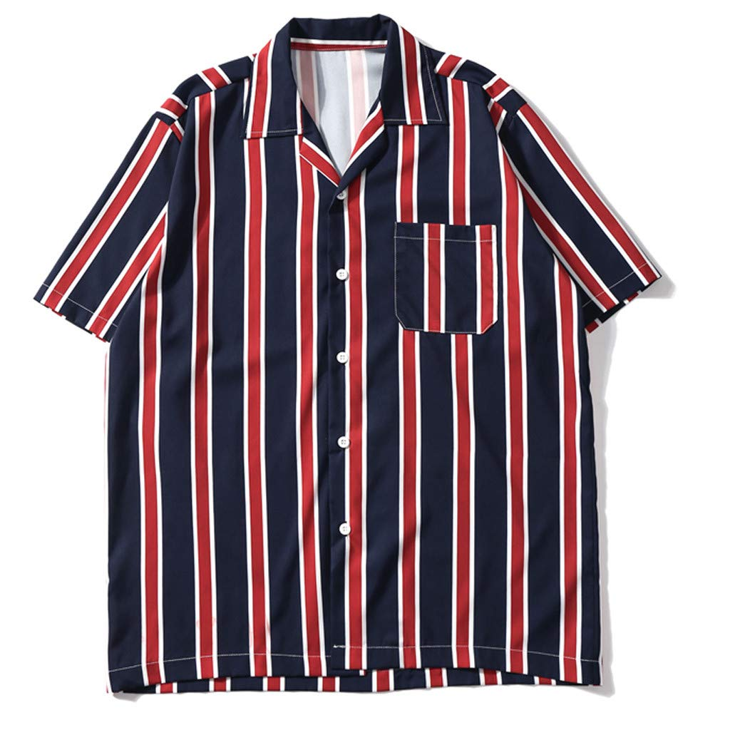 Sharemen Mens Summer Fashion Shirts Casual Short Sleeve Striped Tops Loose Casual Blouse(Red,L)