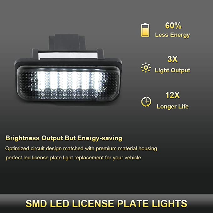 6000K Diamond White 2-Pieces VIPMOTOZ Full LED License Plate Light Tag Lamp Housing Assembly Replacement Pair For 2001-2007 Mercedes Benz W203 C-Class Sedan