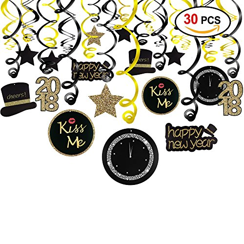 2018 New Year Hanging Swirls Garland with Celebration Card Black & Gold (30pcs), Konsait Happy New Year Party Decorations New Years Eve Party Favors Supplies,Already Assembled