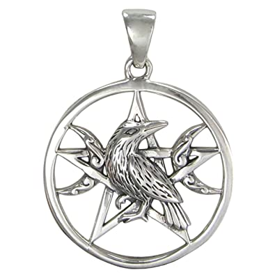 Amazon sterling silver raven moon pentacle pendant jewelry sterling silver raven moon pentacle pendant mozeypictures Choice Image