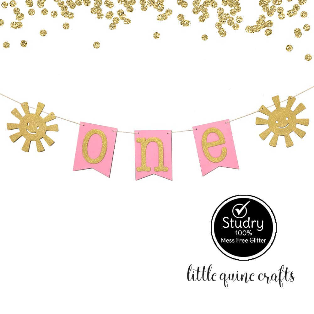 1 pc ONE Sunshine Pink Turquoise Gold Glitter High Chair Banner Party Photo prop Decoration You are my sunshine First Birthday