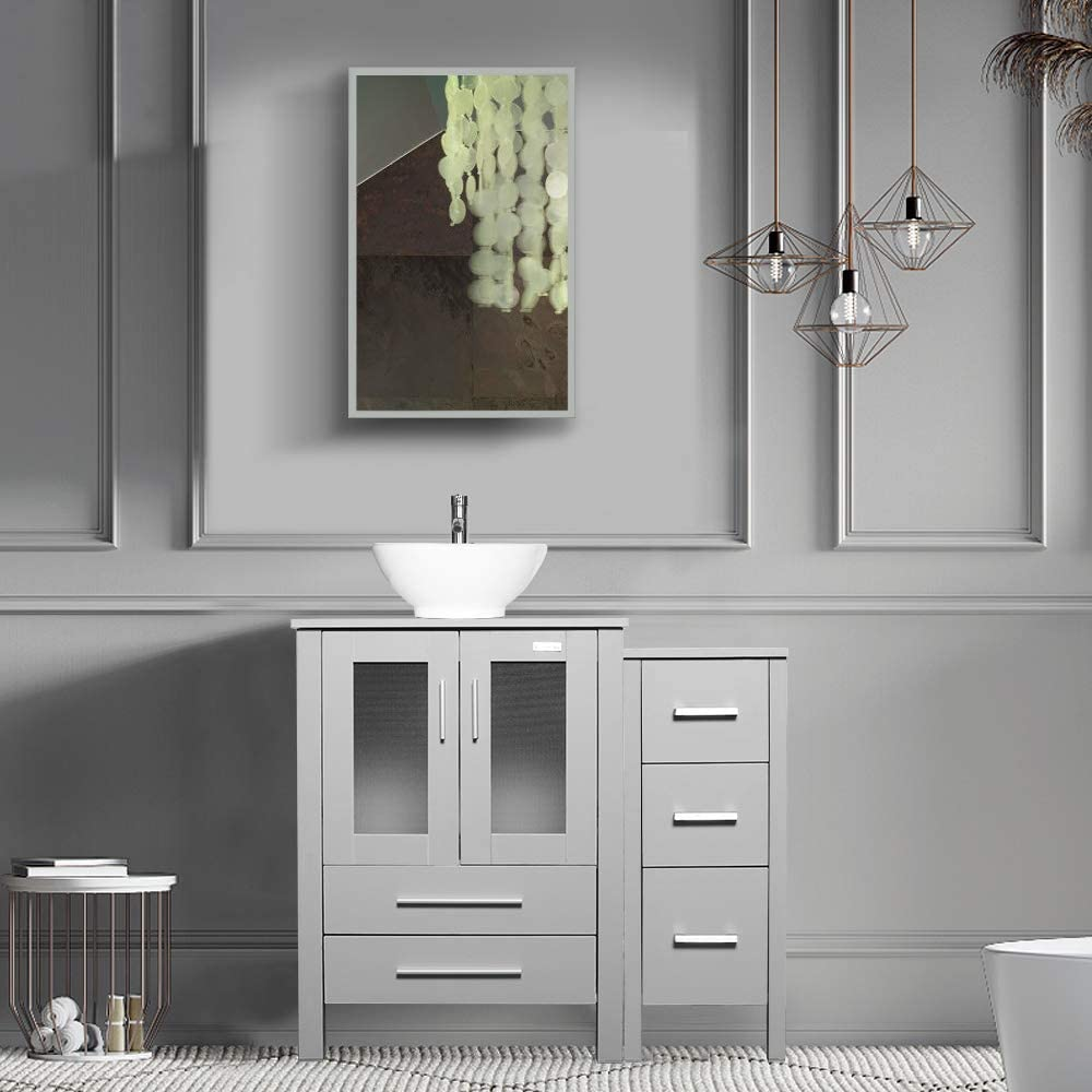 Eclife 36 Bathroom Vanity Sink Combo Grey W Side Cabinet Vanity White Square Ceramic Vessel Sink And Chrome Bathroom Solid Brass Faucet And Pop Up Drain W Mirror A07b02gyb11gy Bathroom Vanities Tools Home