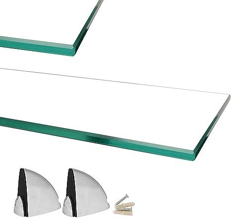 Glasregal mit 6mm ESG Sicherheitsglas 30 cm perfekt geeignet als Badablage//Glasablage f/ür Badezimmer Verschiedene Gr/ö/ßen Euro Tische Glas Wandregal Klarglas