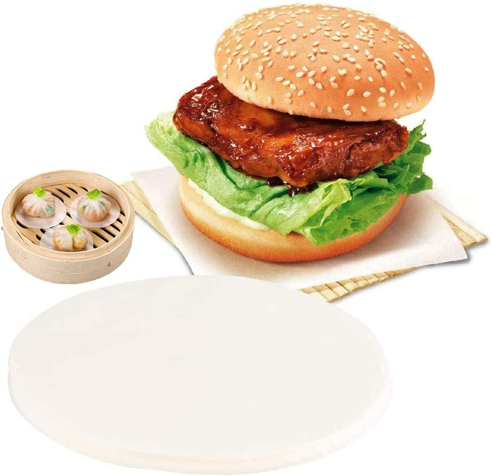 Torte,Separazione di Alimenti,11 cm 500 Pezzi Carta per Hamburger,Carta da Forno Rotonda,Carta Rotonda Antiaderente,Adatto per Hamburger,Separazione di Carne Bianco