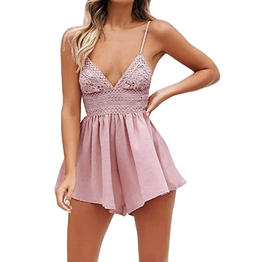 c79bc7254559 Amazon.com: Orangeskycn Women Jumpsuits and Rompers Summer Bowknot Backless  Mini Jumpsuit: Clothing
