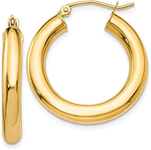 14kt White GoldPolished 4mm Lightweight Round Hoop Earrings