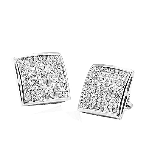 cc8283daacafe Amazon.com: 10k White Gold Diamond Stud Earrings Pave Set 8mm Wide ...