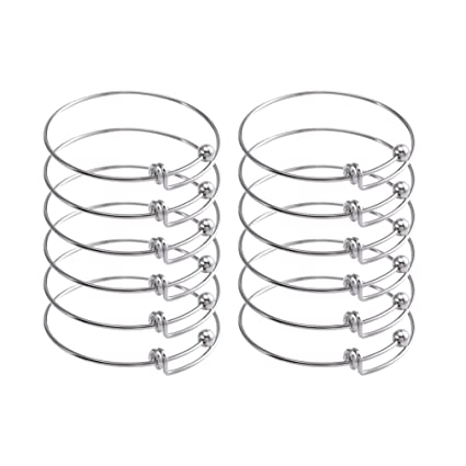 37b613f43f829 ZX Jewelry 12pcs Children's Expandable Blank Bangles Bracelets for Jewelry  DIY Making 2inch