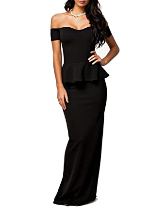 26f7cd67a00 Beilite Drop Shoulder Peplum Maxi Evening Dress Mermaid Gown Black 2