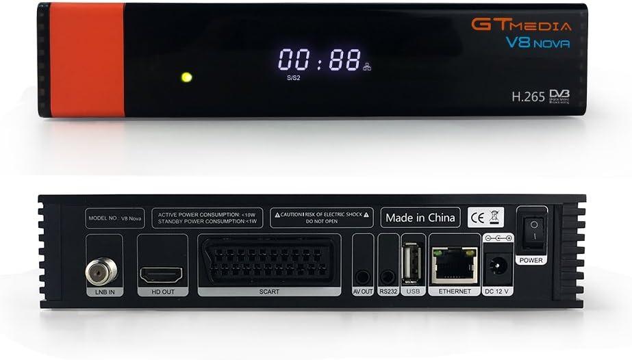 GTMedia V8 Nova Receptor de Satélite DVB S2 Support 1080P Full HD PowerVu Biss chiave Newca CCCAM Set Top Box, con Built-in WiFi